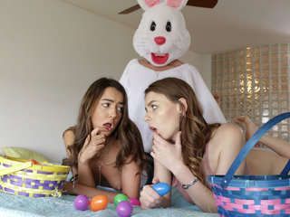 Easter Bunny fucks stepsis and friend